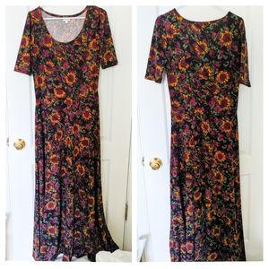 Lularoe Ana Sunflower Pattern Maxi Dress Size L